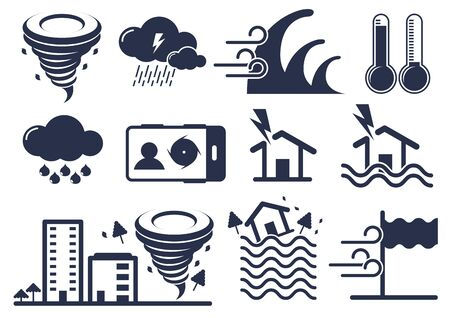 natural disaster icons set, storm, tsunami, thunder,  vector illustration.