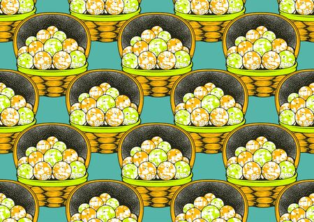 Orange Fruit Baskets, textile fashion, african print fabric, abstract seamless pattern, vector illustration file.