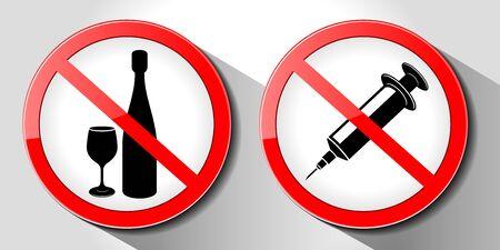Aucun signe de drogue, alcool et drogues, illustration vectorielle, isolé sur fond blanc. Vecteurs