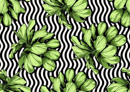 Green leaf seamless pattern, textile fashion, vector illustration file.