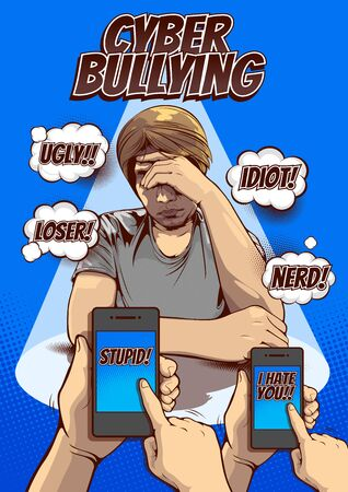 cyber bullying and social media, Being Bullied By Text Message, Signs and Symptoms of Stress in Men, Pictures of men hold the head with hand, comic cover template background, speech bubbles, doodle art, vector illustration.