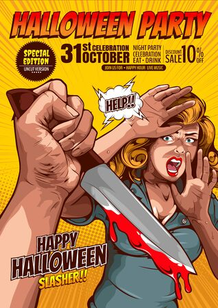 halloween party, cover template background, horror comic, picture hand holding a knife and woman in very shocked fear,  and speech bubbles, doodle art, Vector illustration. Standard-Bild - 140770861