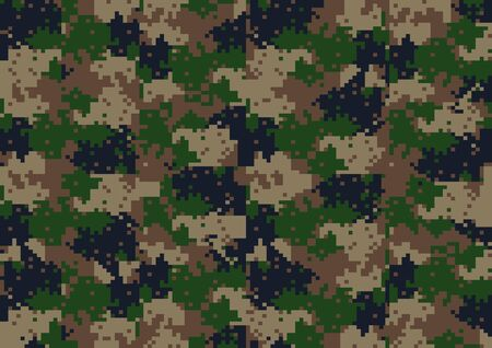 abstract square 8 bit art camouflage military pattern, skin texture green color, fashion fabric printing vector illustration.