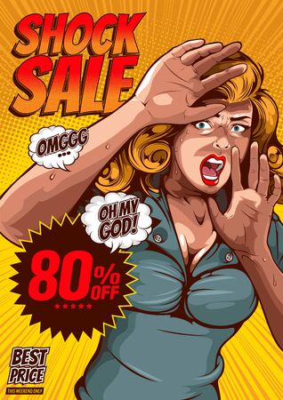 shock sale, The image of a woman lifting her hand, protecting herself and having extreme fear, comic cover template on yellow background.