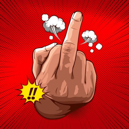 hand showing fuck you with the middle finger, vector illustration rude gesture on red background for comic book cover template, flyer brochure speech bubbles, doodle art.