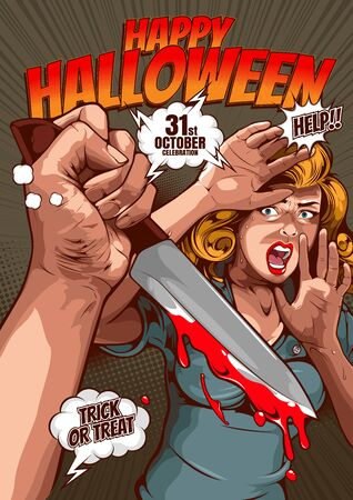 happy halloween cover template  background, horror comic, picture hand holding a knife and woman in very shocked fear,  and speech bubbles, doodle art, Vector illustration.  イラスト・ベクター素材