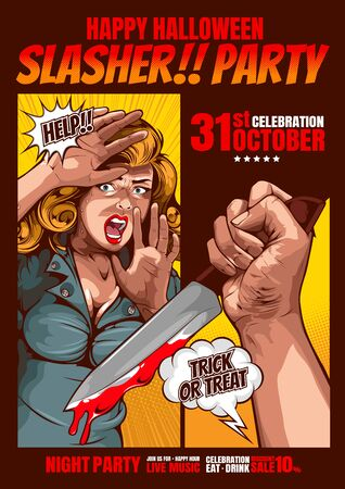 slasher party, happy halloween cover template  background, horror comic, picture hand holding a knife and woman in very shocked fear,  and speech bubbles, doodle art, Vector illustration. Standard-Bild - 141514144