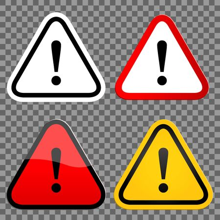Warning sign , isolated minimal flat design style,Black and white and colorful patterns, vector illustration Banco de Imagens