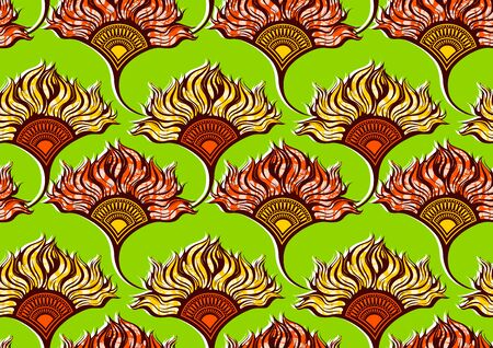 african fashion seamless pattern ornament in vibrant colours, picture art and abstract background for Fabric Print, Scarf, Shawl, Carpet, Kerchief, Handkerchief Banco de Imagens