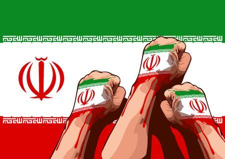 Iran flag and The hand is raising the fist Ilustração
