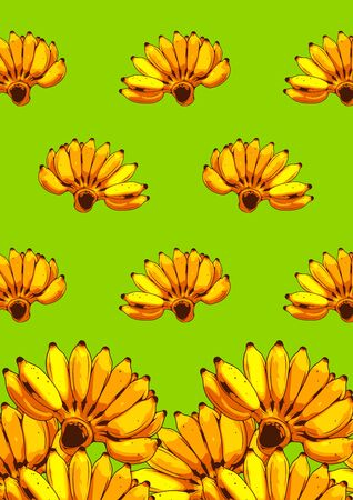 Banana Comic seamless pattern, Vector illustration of a realistic Green Banana drawing, comic style cover template background, speech bubbles Ilustração