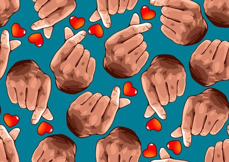 seamless pattern hand showing mini heart,  Korean love sign, Hand symbol For delivering love, vector illustration background for comic book cover template, flyer brochure speech bubbles Ilustração