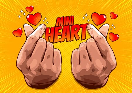 picture of hand showing mini heart, Korean love sign, Hand symbol For delivering love, vector illustration on yellow background for comic book cover template, flyer brochure speech bubbles Ilustração