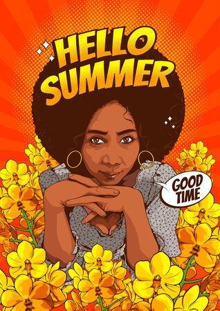 Pictures of beautiful african american women staring with sexy eyes and smiling with a message hello summer, comic style, cover template on yellow background, speech bubbles, vector illustration