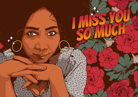 Pictures of beautiful african american women staring with sexy eyes and smiling, comic style, cover template on yellow background