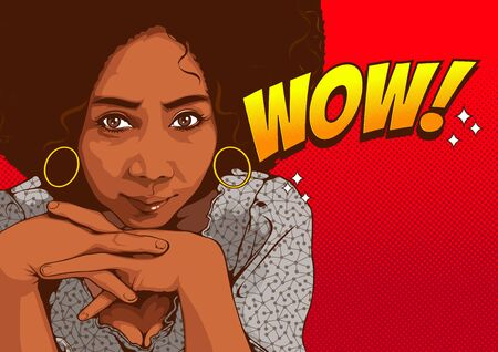 Pictures of beautiful african american women staring with sexy eyes and smiling, comic style, cover template on yellow background, speech bubbles