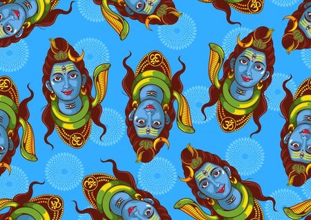 Seamless Pattern illustration of  Lord Shiva of india for Background Template