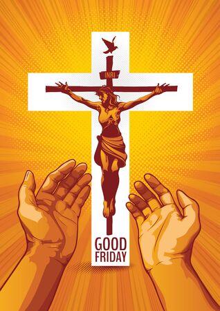 Good Friday, vector illustration of Jesus Christ Crucifixion on White Background.