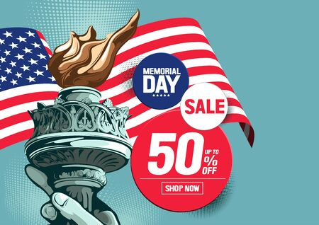 Memorial Day Sale, Hand of the Statue of Liberty,vector illustration.