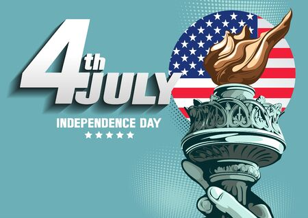 I love USA, Horizontal Poster, Hand of the Statue of Liberty, independence day, vector illustration, you can place relevant content on the area.