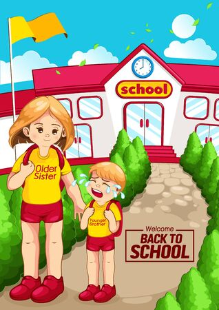 Welcome back to school, Children go to school, vertical poster. 向量圖像