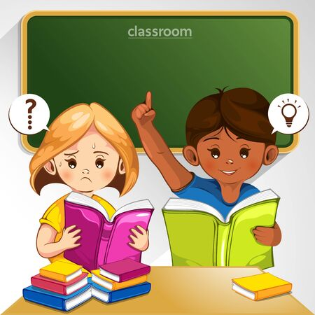 Kids in the classroom are answering questions, vector illustration, you can place relevant content on the area.