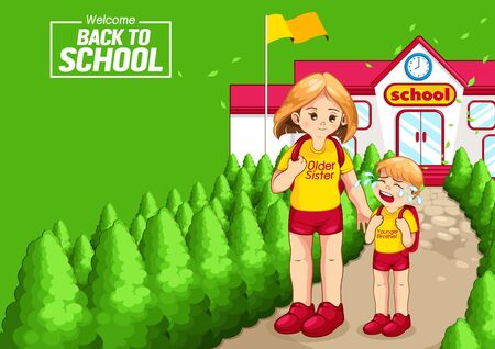 back to school, Children go to school, horizontal poster, vector illustration, you can place relevant content on the area. 向量圖像