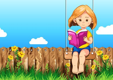 child reading books in garden, vector illustration, you can place relevant content on the area.