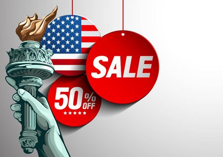independence day sale, Hand of the Statue of Liberty Poster ,vector illustration.
