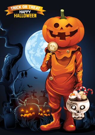 Halloween, Ghost, treat or trick, Vector illustration, Vertical Poster, you can place relevant content on the area, show good color RGB COLOR MODE.