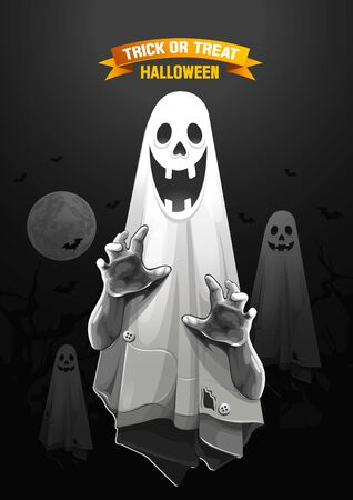 Halloween, Ghost, treat or trick, Vector illustration, Vertical Poster, you can place relevant content on the area.