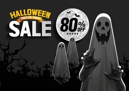 Halloween Sale, Ghost, Treat oder Trick, Vector Illustration, horizontales Poster, Sie können relevante Inhalte auf dem Gebiet platzieren.