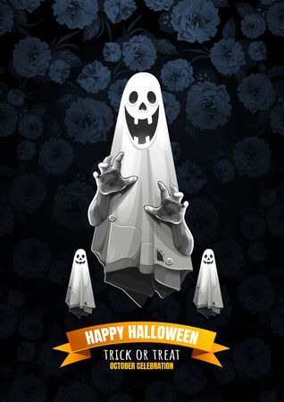 Halloween, Ghost, treat or trick, Vector illustration, Vertical Poster, you can place relevant content on the area. 矢量图像