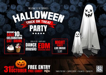 Halloween Party, Ghost, treat or trick, Vector illustration, horizontal Poster, you can place relevant content on the area.