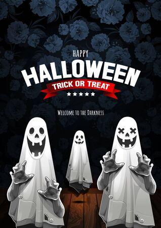 Happy Halloween, Ghost, treat or trick, Vector illustration, Vertical Poster, you can place relevant content on the area.