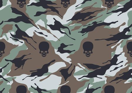 abstract Skull and camouflage military pattern, skin texture red color, fashion fabric printing vector illustration.