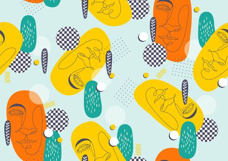 Abstract  line art face, geometric seamless pattern hipster fashion, Minimal background, vector illustration.