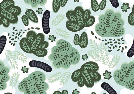 Floral seamless pattern, pastel color vector illustration.