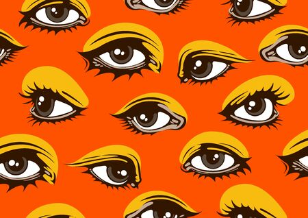 eyes seamless pattern, for for fashion clothes and comic style vector illustration.