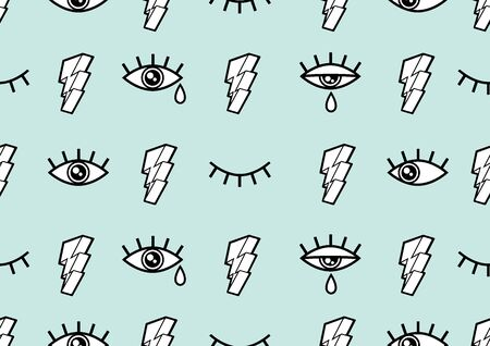 Eyes Seamless pattern, Minimal geometric background for for fashion clothes and Comic style, vector illustration.