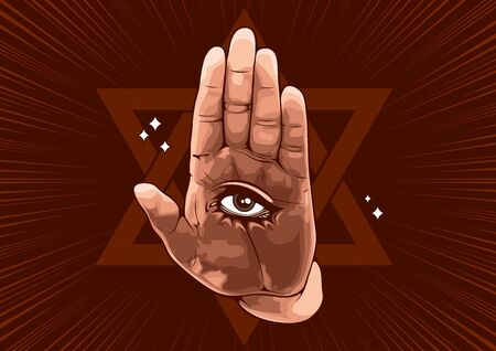 The Eye in Hand, comic style vector illustration.