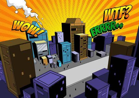 Comic Scene, City Background For making illustrations in print media or website, vector illustration. Ilustração