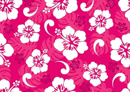 hibiscus hawaii seamless pattern, fashion background. Banco de Imagens - 148757352