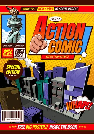 comic cover template background, flyer brochure speech bubbles, doodle art, Vector illustration.
