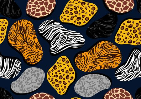 African wildlife Seamless pattern, Tiger, Leopard, Zebra and giraffe, picture art and abstract background, vector illustration.