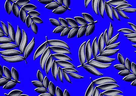 Tropical Leaves Seamless Pattern,  african fashion, picture art and abstract background.
