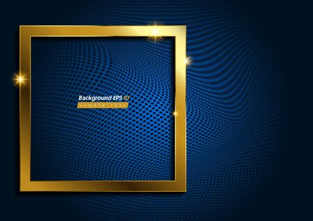 Square Shape, Modern Luxury Gold on Blue dot background, Abstract texture, geometric shapes and gradient.