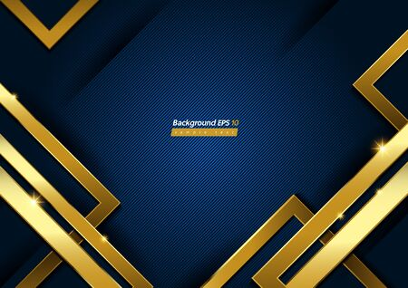 Gold and Blue Diagonal Line Background, geometric shapes and gradient.