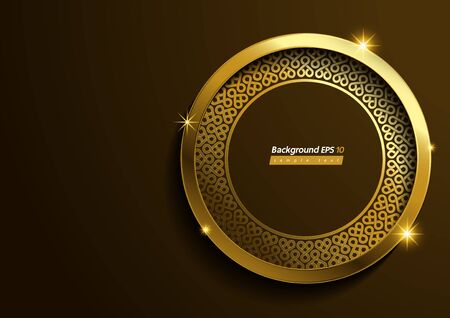 Circle pattern Luxury Gold, brown Color Background.