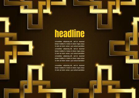 Square Shape Background, Modern Luxury Gold brown. Ilustração